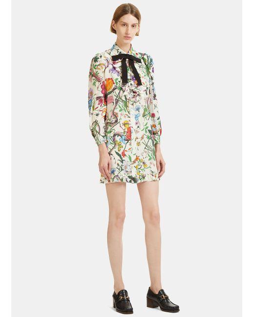 Gucci | Multicolor Flora Snake Print Ruffled Shirt Dress In Ivory | Lyst