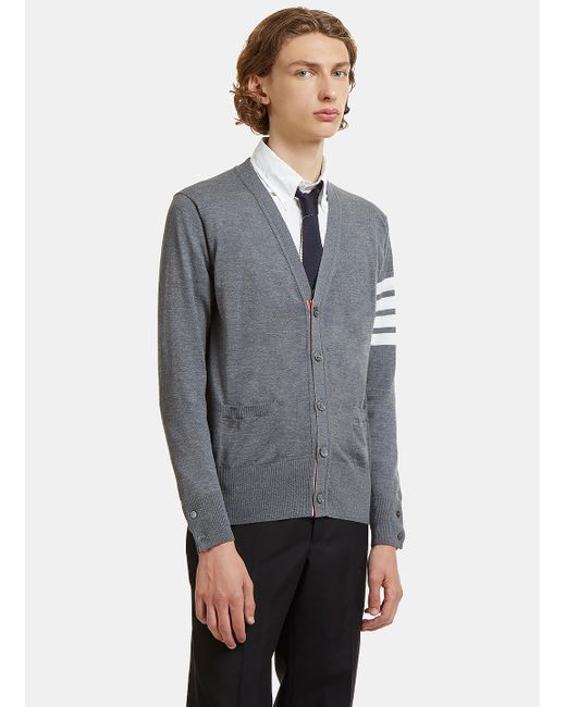 Thom Browne | Gray 4 Bar Striped Merino Wool Cardigan In Grey for Men | Lyst