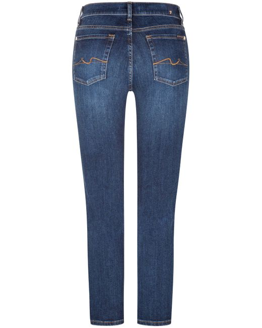 7 For All Mankind Blue The Straight 7/8- Jeans Crop