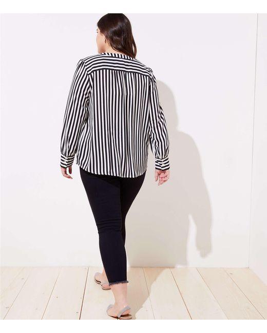 d9978c4722c574 ... LOFT - Black Plus Mixed Stripe Puff Sleeve Blouse - Lyst