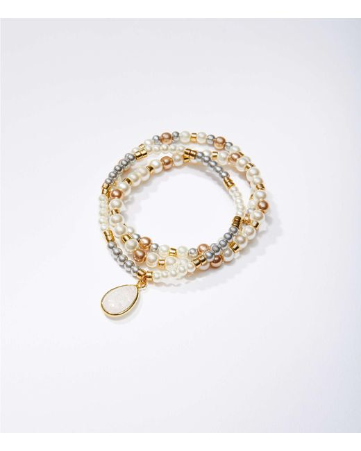 LOFT - Metallic Pearlized Stretch Bracelet Set - Lyst
