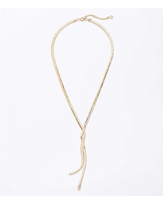 LOFT Metallic Herringbone Lariat Necklace