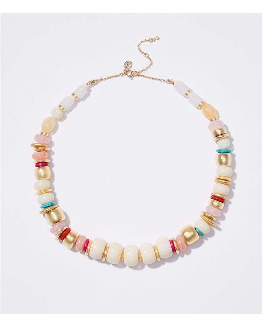 LOFT - Metallic Mixed Bead Statement Necklace - Lyst
