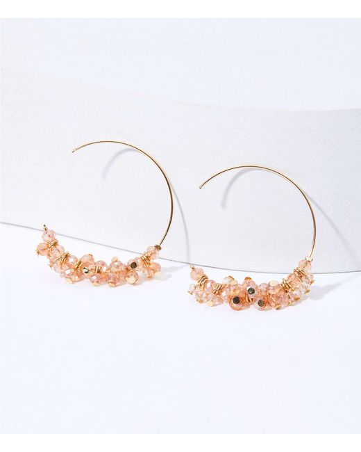 LOFT Metallic Beaded Pull Through Hoop Earrings