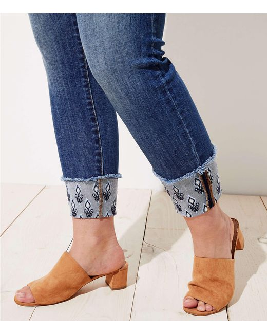 f6f76c79ae7b7 ... LOFT - Blue Plus Floral Embroidered Cuffed Skinny Jeans - Lyst ...