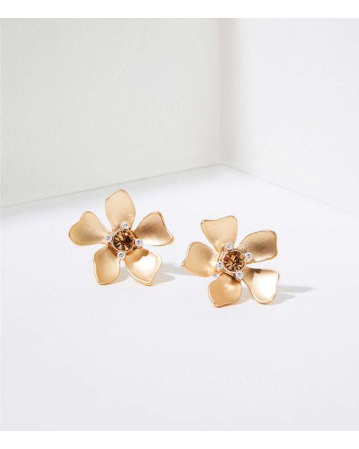 LOFT Metallic Floral Stud Earrings