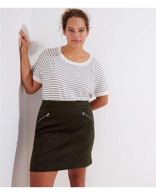 LOFT - Multicolor Plus Faux Suede Zip Skirt - Lyst