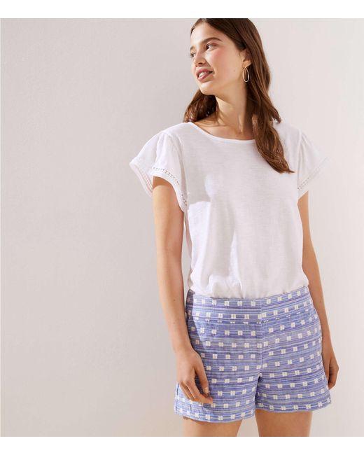 LOFT Blue Geo Textured Riviera Shorts With 4 Inch Inseam
