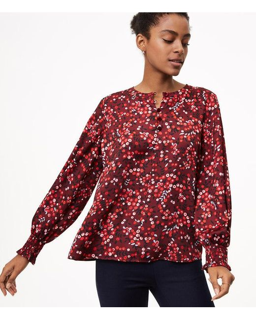 Loft berry velvet button smocked cuff blouse in red lyst for Red velvet button up shirt