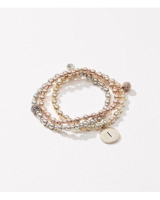 LOFT   Metallic Initial Stretch Bracelet Set   Lyst
