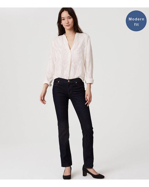 LOFT - Blue Modern Straight Leg Jeans In Dark Rinse Wash - Lyst