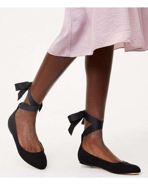LOFT - Black Lace Up Ballet Flats - Lyst