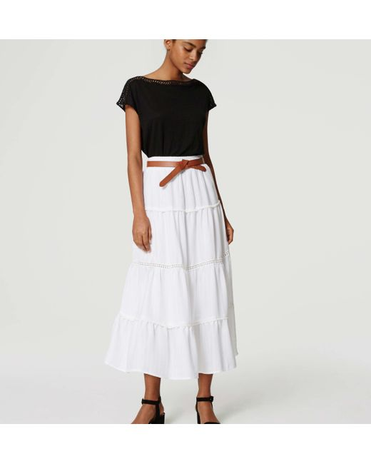 loft tiered maxi skirt in white save 14 lyst