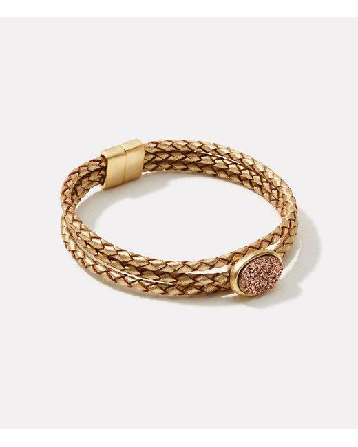 LOFT | Metallic Druzy Braided Bracelet | Lyst