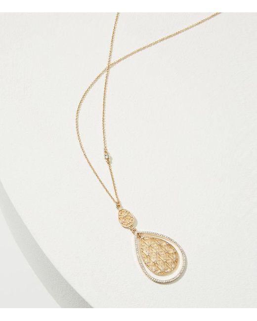 LOFT   Metallic Crystal Cutout Pendant Necklace   Lyst