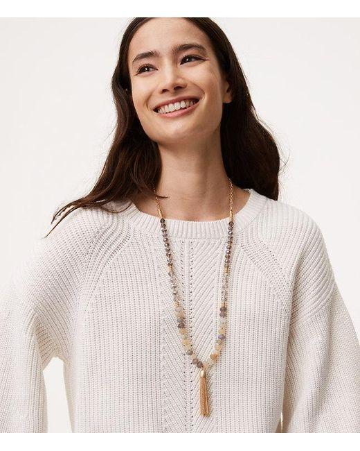 LOFT | Metallic Beaded Chain Tassel Necklace | Lyst