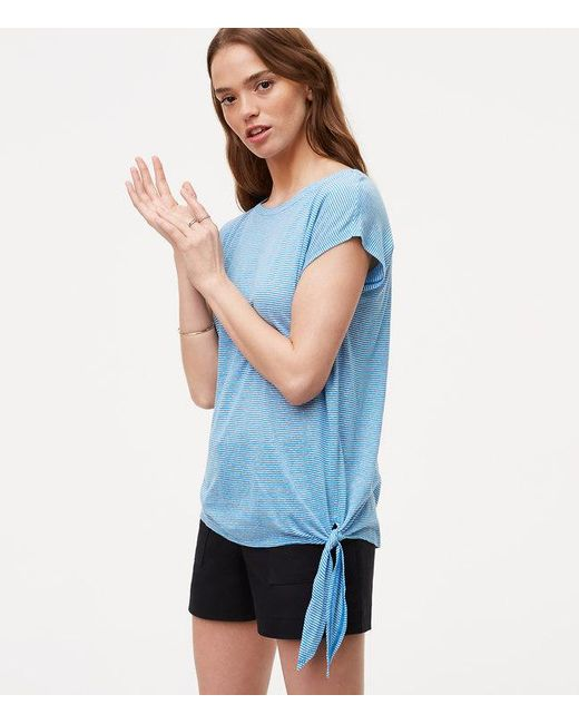 Loft Striped Side Tie Tee In Blue Save 74 Lyst