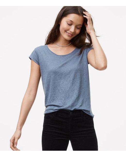 LOFT | Blue Linen Shirttail Tee | Lyst