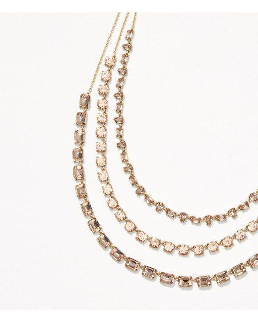 LOFT | Metallic Crystal Multistrand Necklace | Lyst