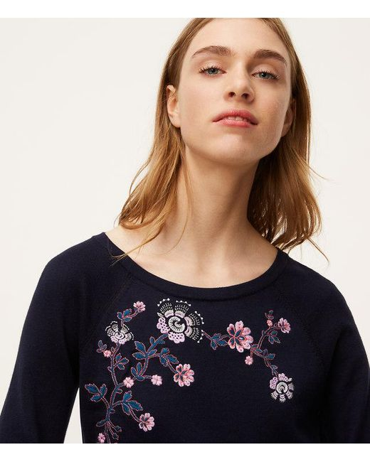 loft embroidered sweater. loft | blue floral embroidered puff cuff sweater lyst loft