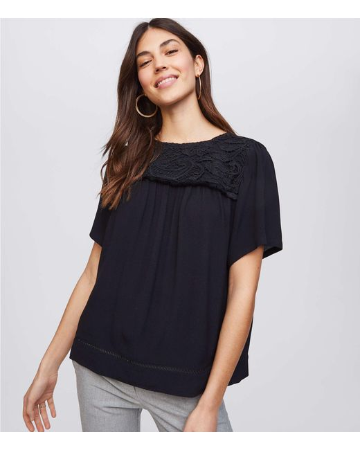 LOFT Black Fringe Lace Yoke Top
