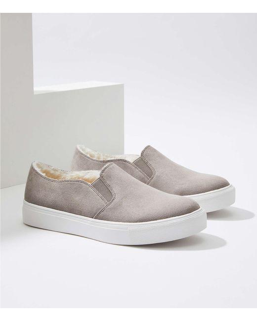 LOFT - Gray Faux Fur Lined Slip On Sneakers - Lyst