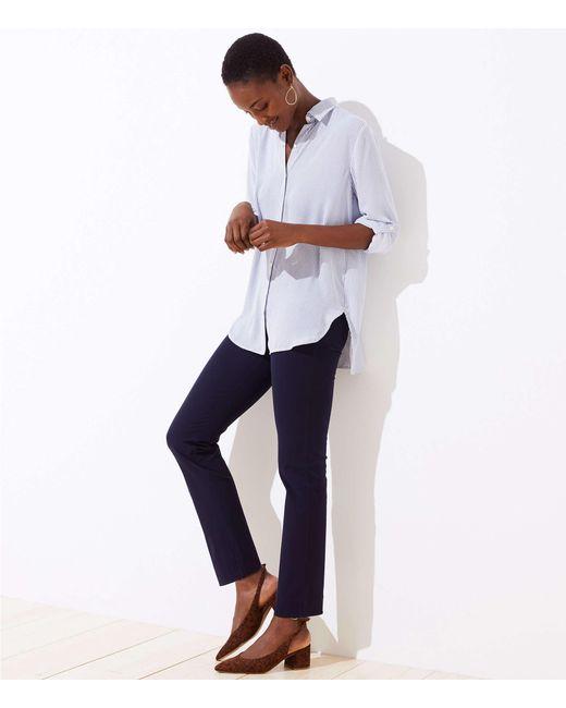 LOFT Blue Slim Crop Pull On Pants