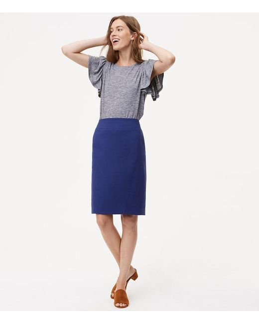 LOFT | Blue Tall Seamed Scuba Pencil Skirt | Lyst