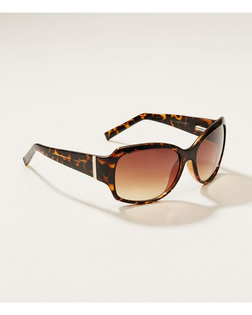LOFT - Brown Tortoiseshell Print Square Sunglasses - Lyst