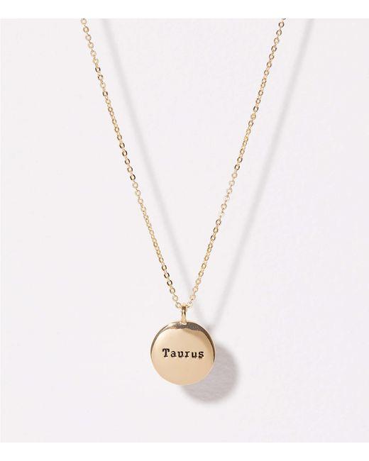 LOFT - Metallic Taurus Pendant Necklace - Lyst