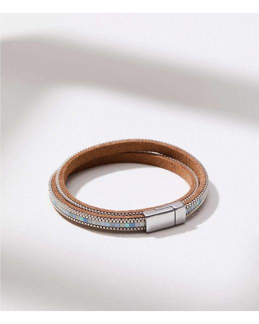 LOFT - Metallic Beaded Chain Wrap Bracelet - Lyst