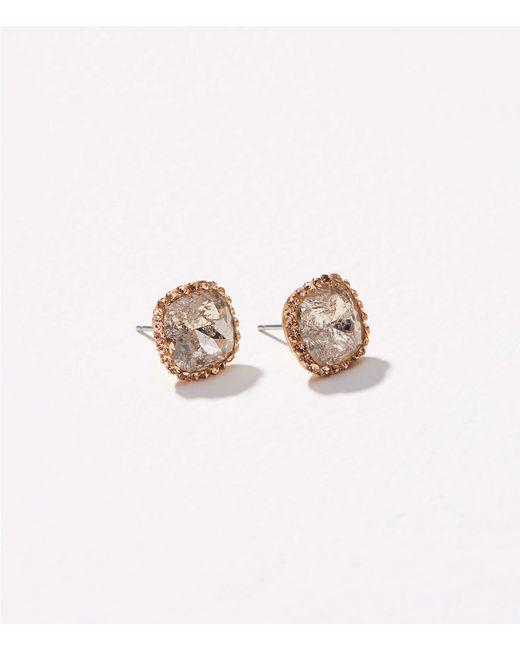 LOFT | Metallic Pave Square Stud Earrings | Lyst