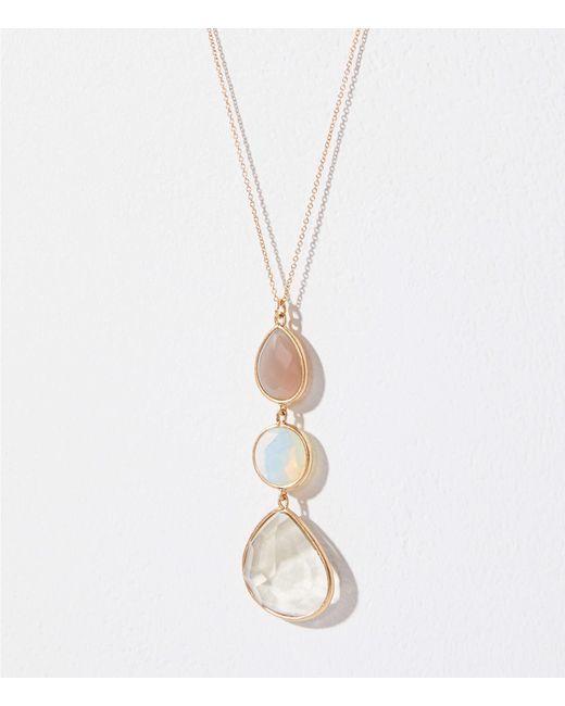LOFT - Metallic Stacked Stone Pendant Necklace - Lyst