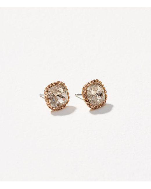 LOFT   Metallic Pave Square Stud Earrings   Lyst