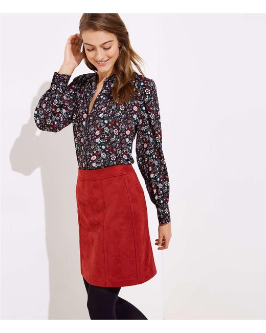 4ee425c18 LOFT - Red Petite Faux Suede Shift Skirt - Lyst ...