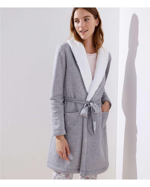 LOFT - Gray Faux Sherpa Lined Robe - Lyst