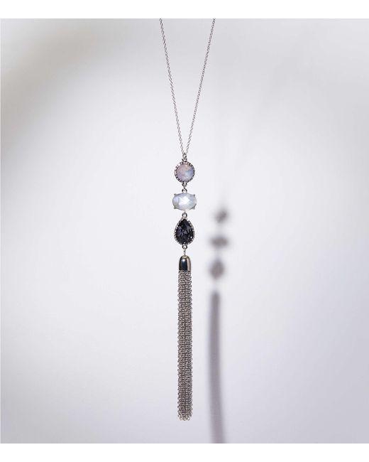 LOFT - Multicolor Stacked Stone Tassel Pendant Necklace - Lyst