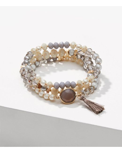 LOFT - Metallic Pearlized Stretch Bracelet - Lyst