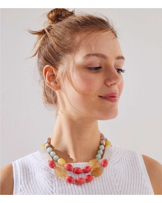 LOFT - Metallic Beaded Double Strand Necklace - Lyst