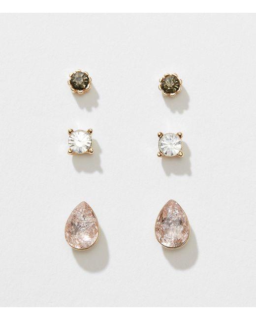 LOFT | Metallic Crystal Stud Earring Set | Lyst
