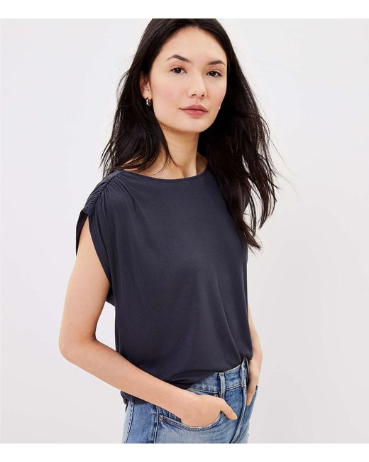 LOFT Gray Cinched Sleeve Top