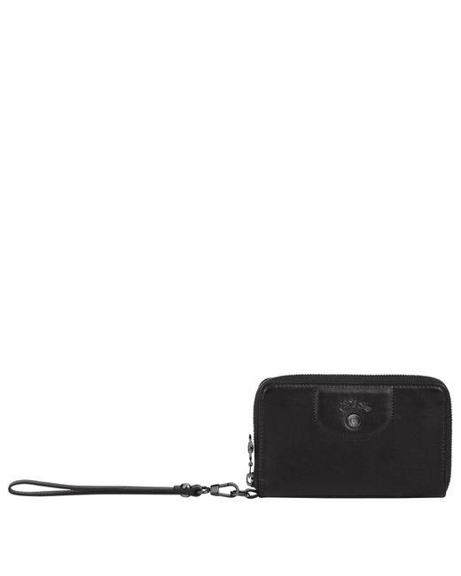 Portefeuille compact Le Pliage Cuir Longchamp en coloris Black