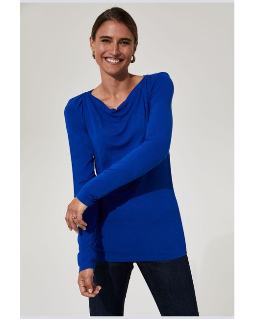 Long Tall Sally Blue Tall Cowl Neck Top