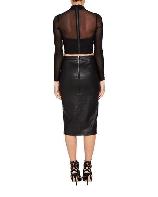 bardot khloe slit faux leather pencil skirt in black