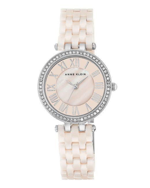 Anne klein swarovski crystal accented ceramic bracelet watch in metallic pink lyst for Anne klein swarovski crystals