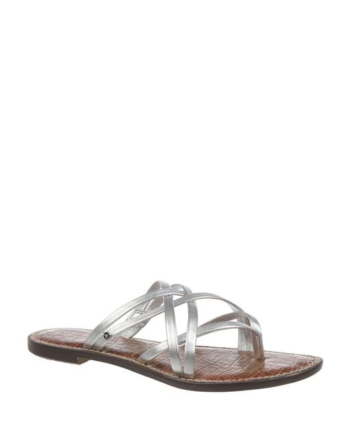 Sam Edelman Georgette Leather Slide Sandals In Silver Lyst