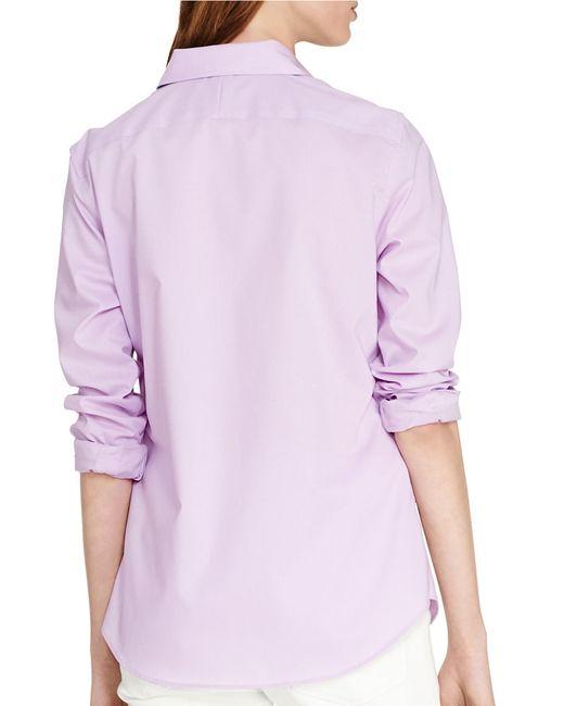 Lauren By Ralph Lauren Cotton Button Down Shirt In Pink