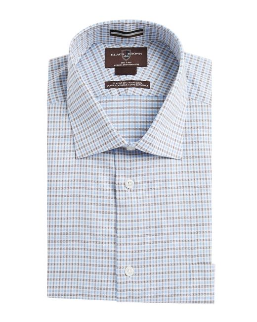 Black brown plaid dress shirt in blue for men brown lyst for Blue and yellow plaid dress shirt