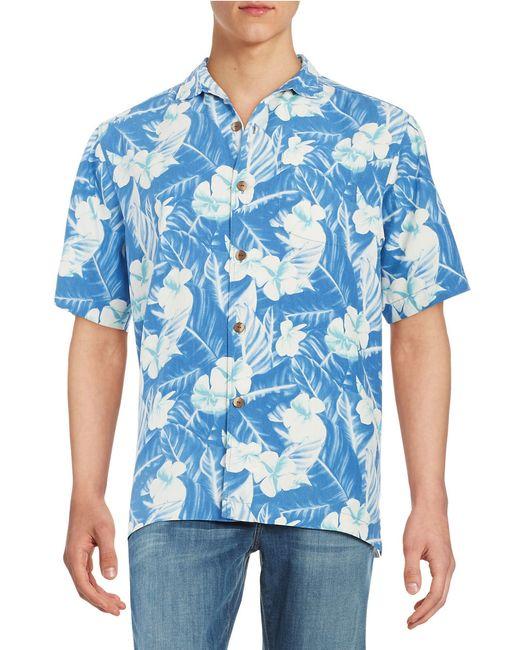 Tommy Bahama Silk Hawaiian Shirt In White For Men Blue