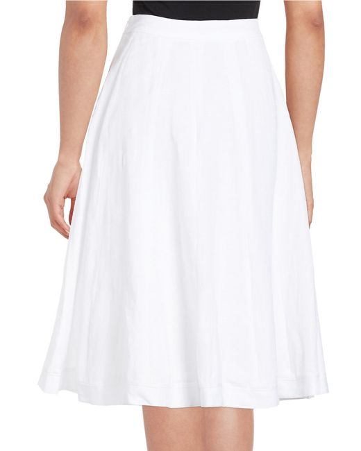 lord linen blend a line skirt in white true